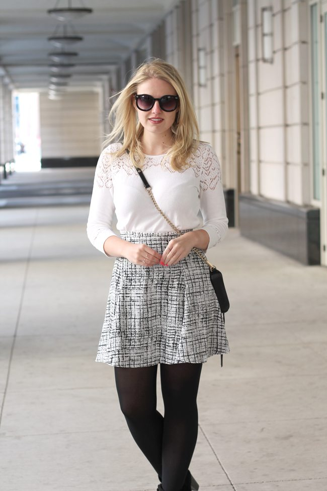 black and white, revolve clothing skirt, printed skirt, asos sweater, asos jumper, spring outfit, transitional outfit