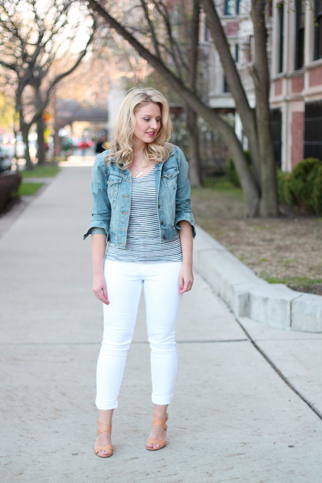 Denim Jacket And White Jeans - Xtellar Jeans