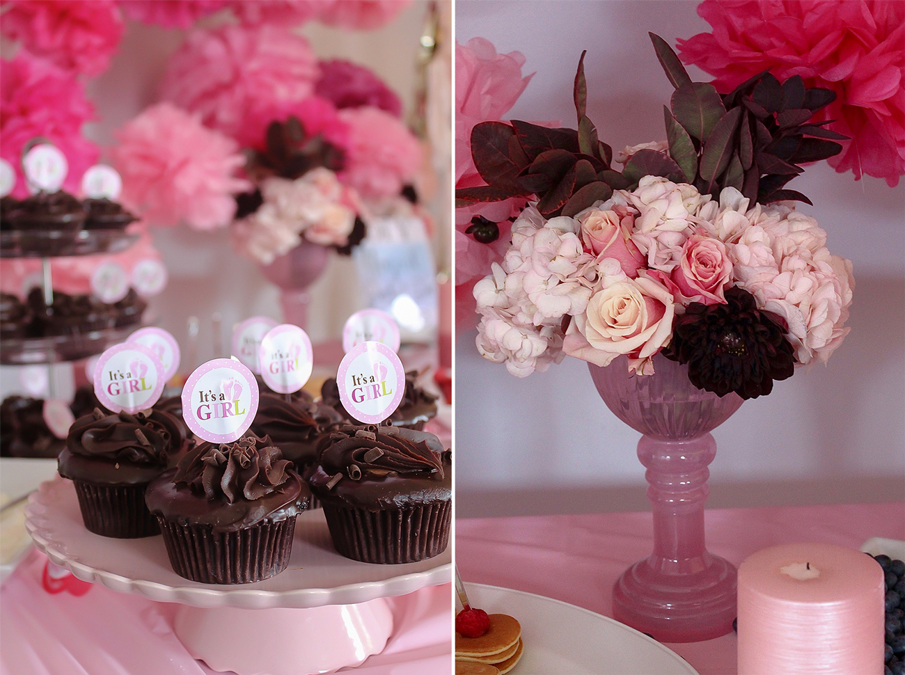baby shower treats and floral decorations