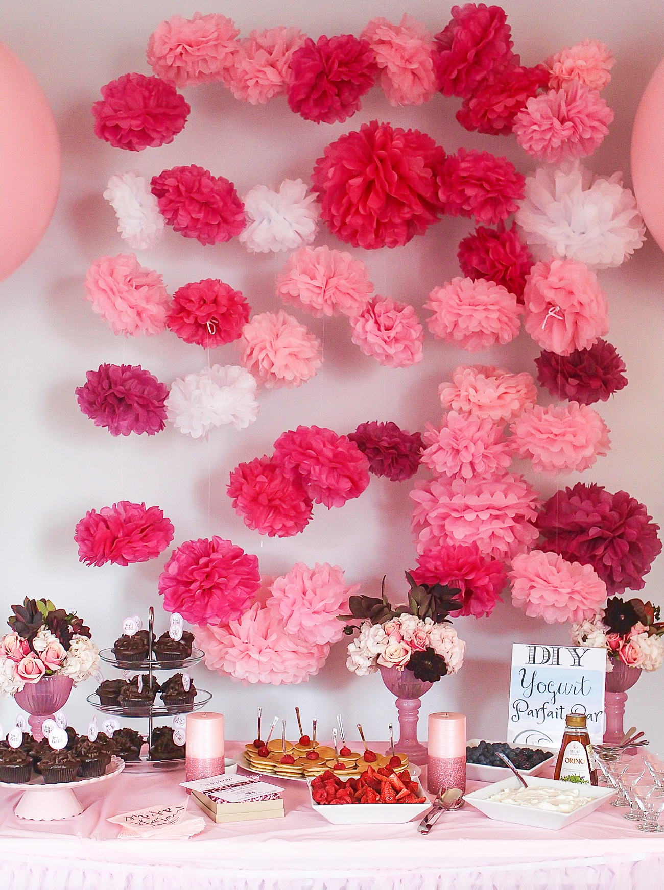 All pink baby shower decorations