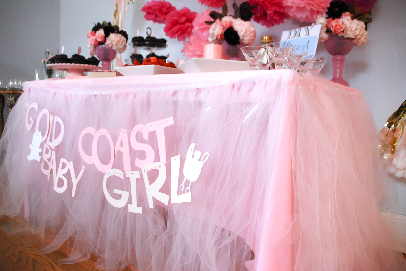 a baby shower table tutu skirt