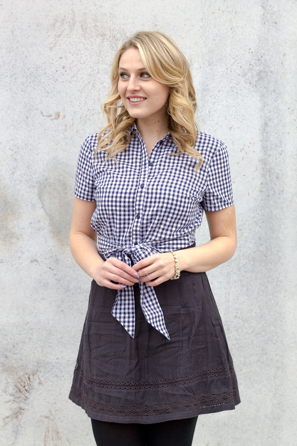 How to wear blue gingham print this winter season