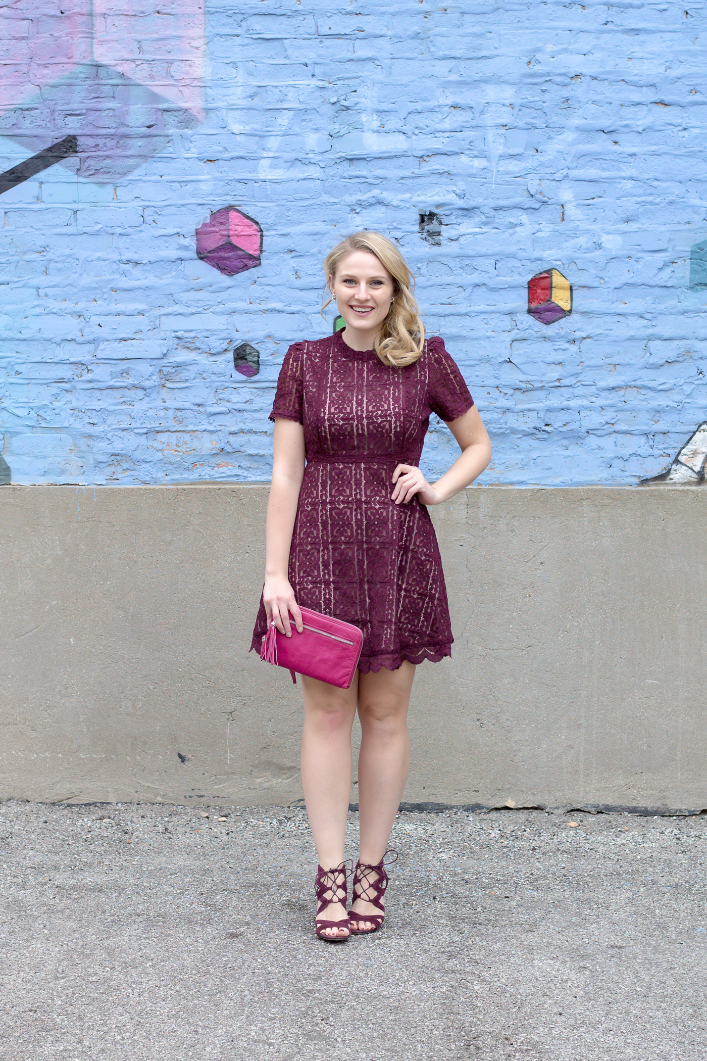 A pretty lace dress in a deep purple