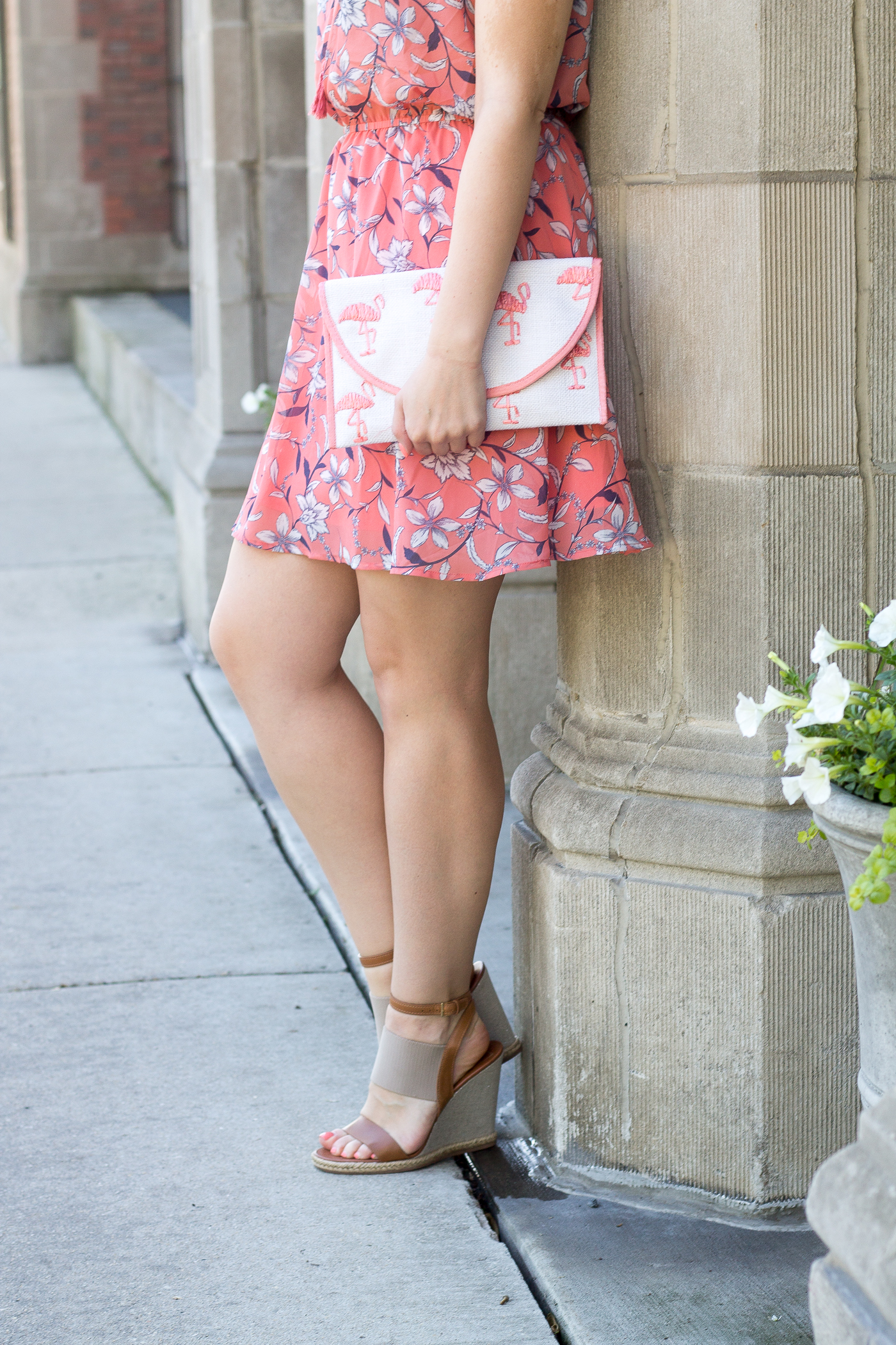 Tory Burch wedges with a BB Dakota Dress