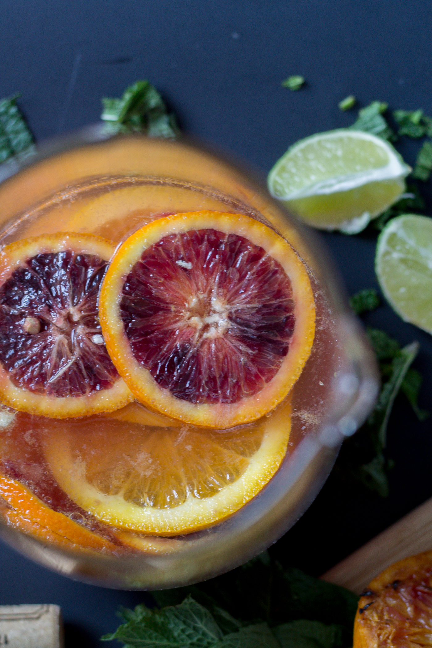 Blood Orange grilled citrus Sangria with rosé wine