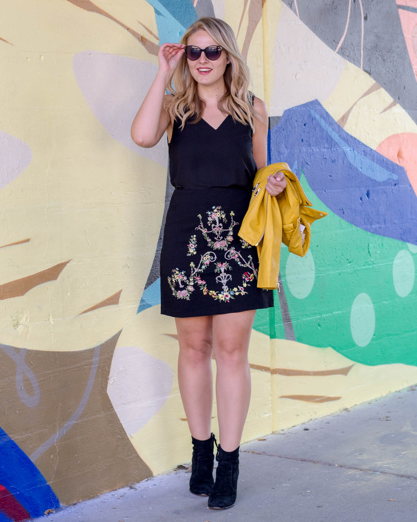 ASOS embroidery black skirt with a pop of yellow leather jacket