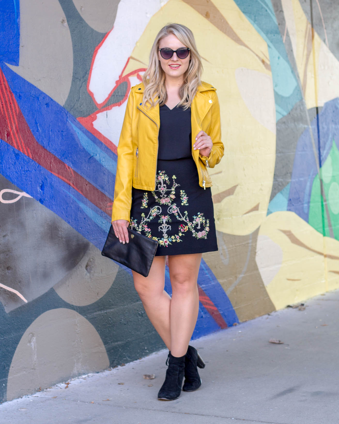 How to style a yellow leather jacket this fall